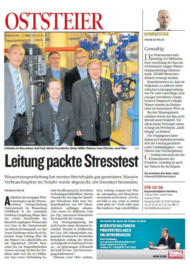 Bericht Kleine Zeitung, 21. März 2013, Leitung packte Stresstest
